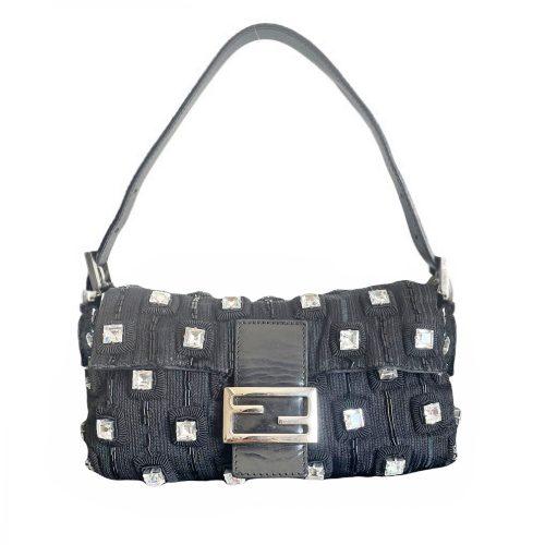 Vintage Fendi Crystal Knitted Baguette Shoulder Bag in Black | NITRYL