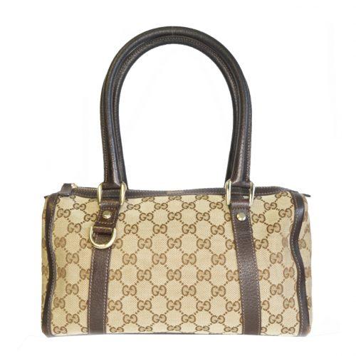 Vintage Gucci Monogram Boston Shoulder Bag in Beige and Brown   NITRYL