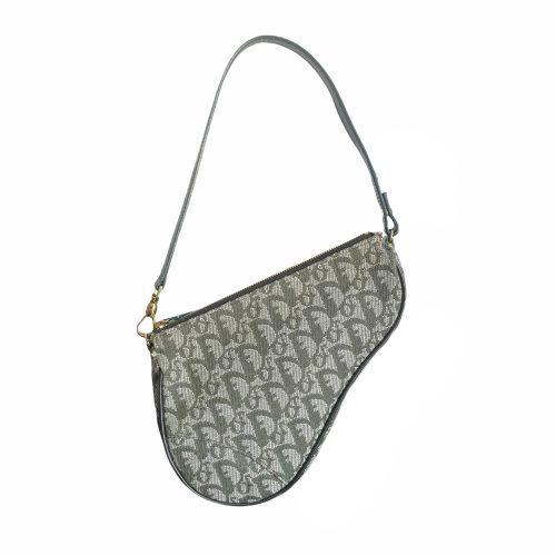 Vintage Dior Monogram Mini Saddle Shoulder Bag in Olive Green | NITRYL