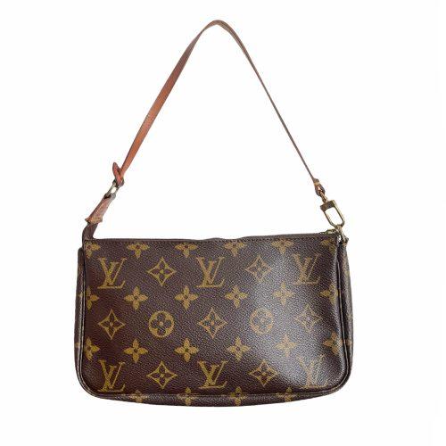 Vintage Louis Vuitton Monogram Pochette Mini Shoulder Bag in Brown | NITRYL
