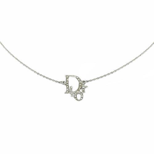Vintage Dior Diamante Logo Spellout Necklace in Silver | NITRYL