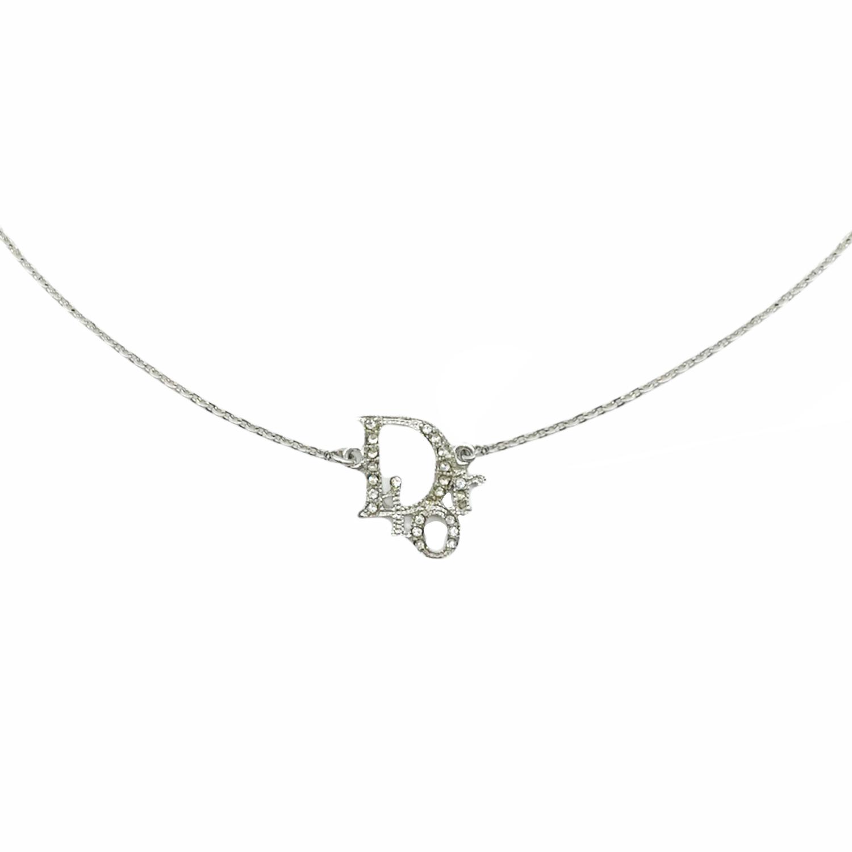Vintage Dior Diamante Logo Spellout Necklace in Silver   NITRYL