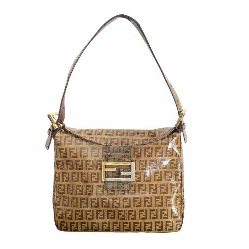 Vintage Fendi Monogram PVC Baguette Shoulder Bag in Brown and Gold | NITRYL
