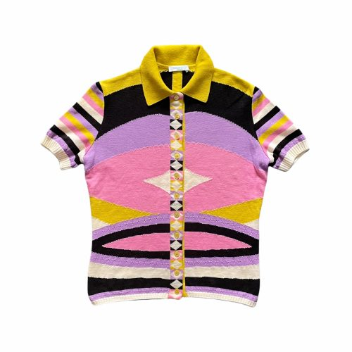 Vintage Emilio Pucci Abstract Knitted Polo Top Size S | NITRYL