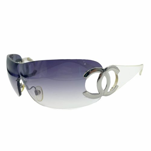 Vintage Chanel Rimless Visor Sunglasses in Purple and Silver | NITRYL