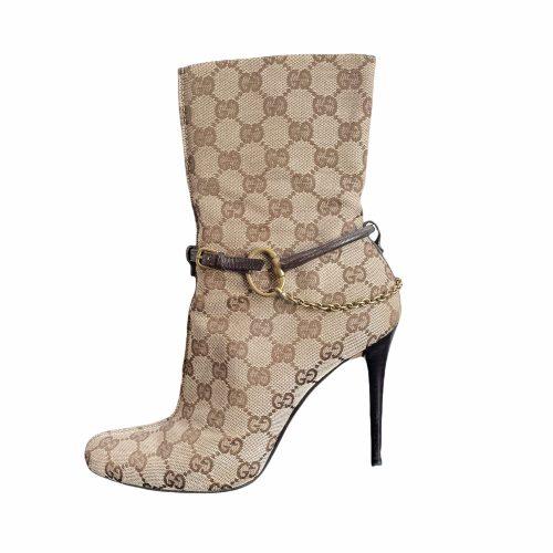 Vintage Gucci Monogram Stiletto Heeled Boots with Chain in Beige UK 3 | NITRYL