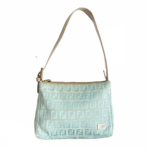 Vintage Fendi Monogram Mini Shoulder Bag in Turquoise and Gold | NITRYL