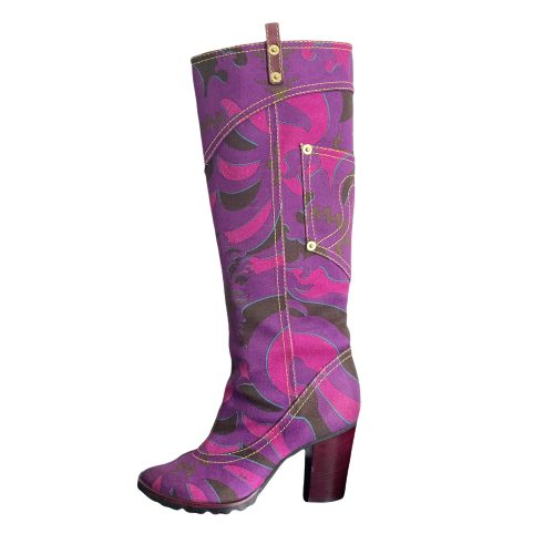 Vintage Emilio Pucci Abstract Denim Boots in Purple UK 4 | NITRYL