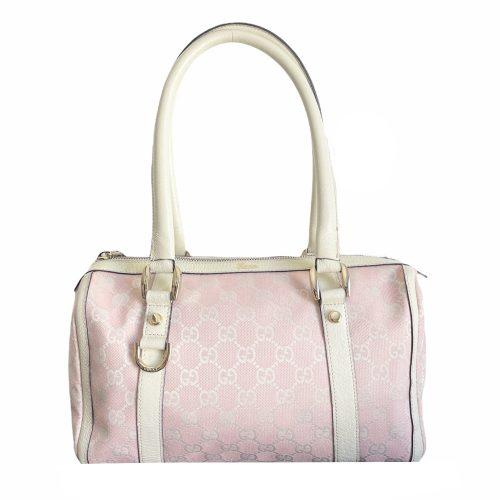 Vintage Gucci Monogram Boston Shoulder Bag in Baby Pink and White | NITRYL