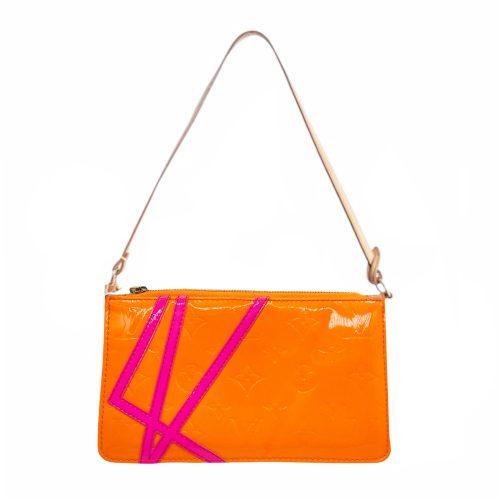 Vintage Louis Vuitton Robert Wilson Vernis Pochette Mini Shoulder Bag in Orange and Pink | NITRYL