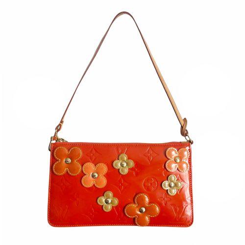 Vintage Louis Vuitton Vernis Flower Pochette Mini Shoulder Bag in Orange | NITRYL