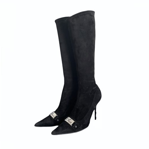 Vintage Dior Suede Sock Boots in Black with Silver Dior Detailing UK 5 | NITRYL