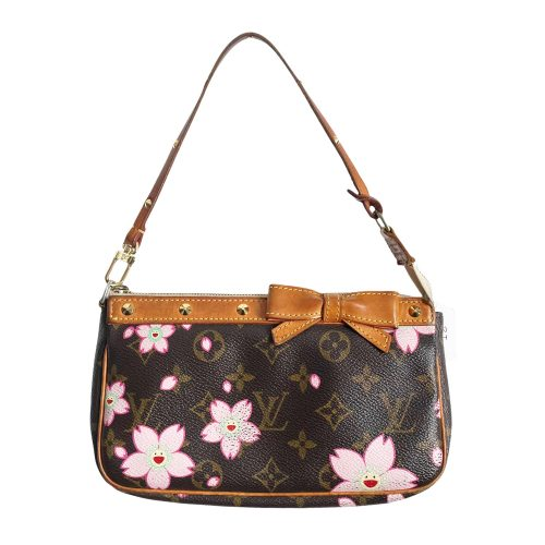 Vintage Louis Vuitton Takashi Murakami Flower Pochette Mini Shoulder Bag in Brown | NITRYL