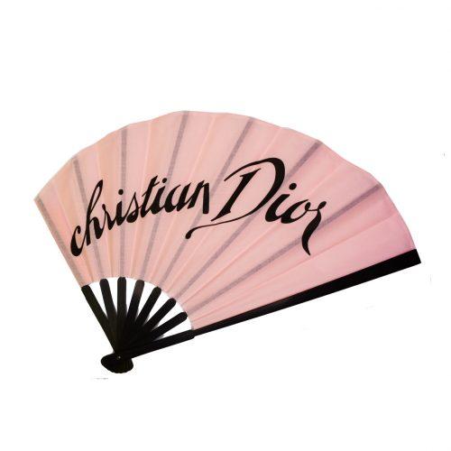 Vintage Dior Spellout Hand Fan in Pink | NITRYL