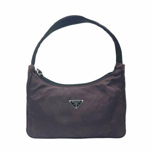 Vintage Prada Nylon Hobo Shoulder Bag in Deep Purple/Brown | NITRYL