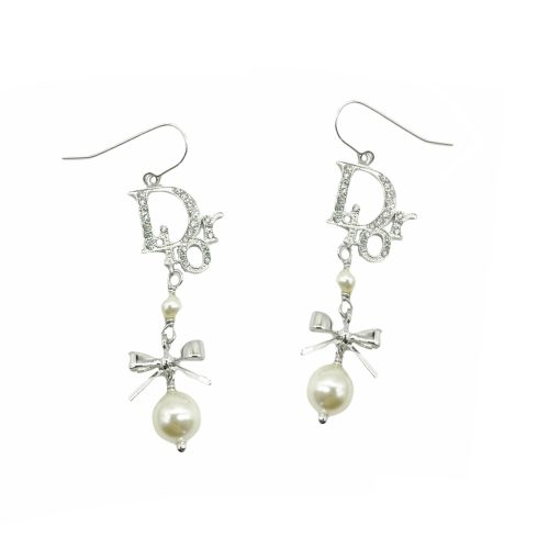 Vintage Dior Diamante Logo Pearl Drop Earrings in Silver | NITRYL