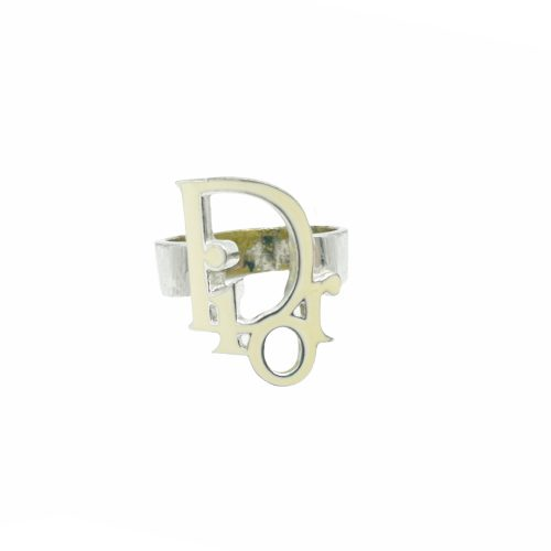 Vintage Dior Logo Enamel Ring in Cream/White and Silver | NITRYL