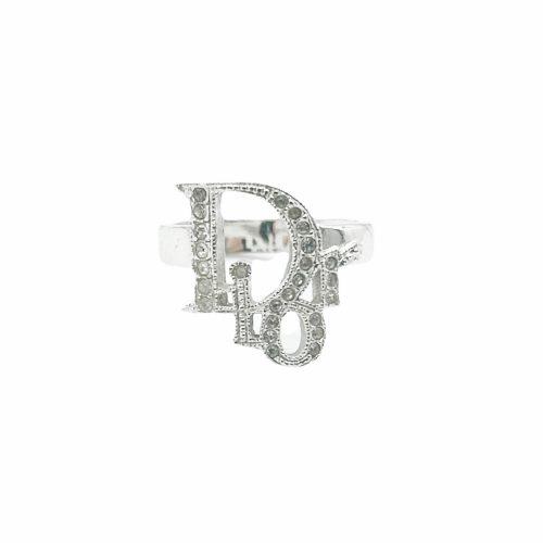 Vintage Dior Diamante Logo Ring in Silver | NITRYL