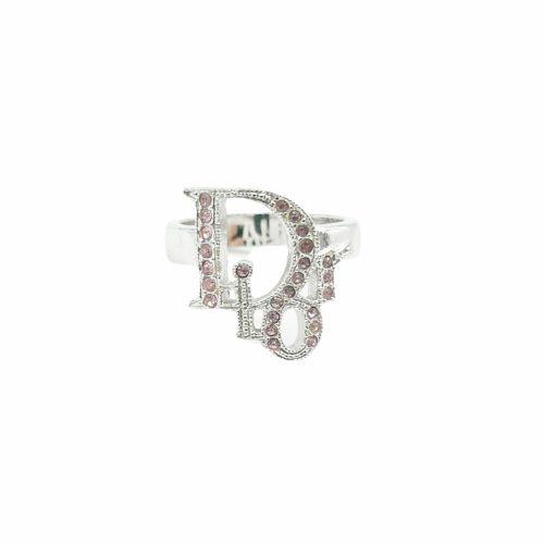 Vintage Dior Diamante Logo Ring in Pink | NITRYL