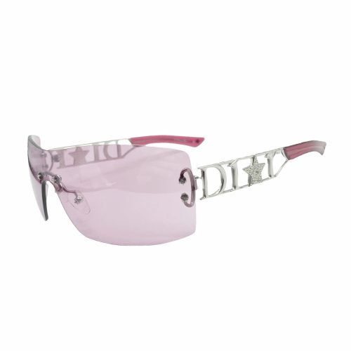 Vintage Dior Diamante Star Spellout Shield Sunglasses in Purple | NITRYL
