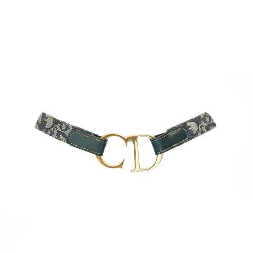 Vintage Dior Monogram 'CD' Buckle Belt in Navy and Gold | NITRYL