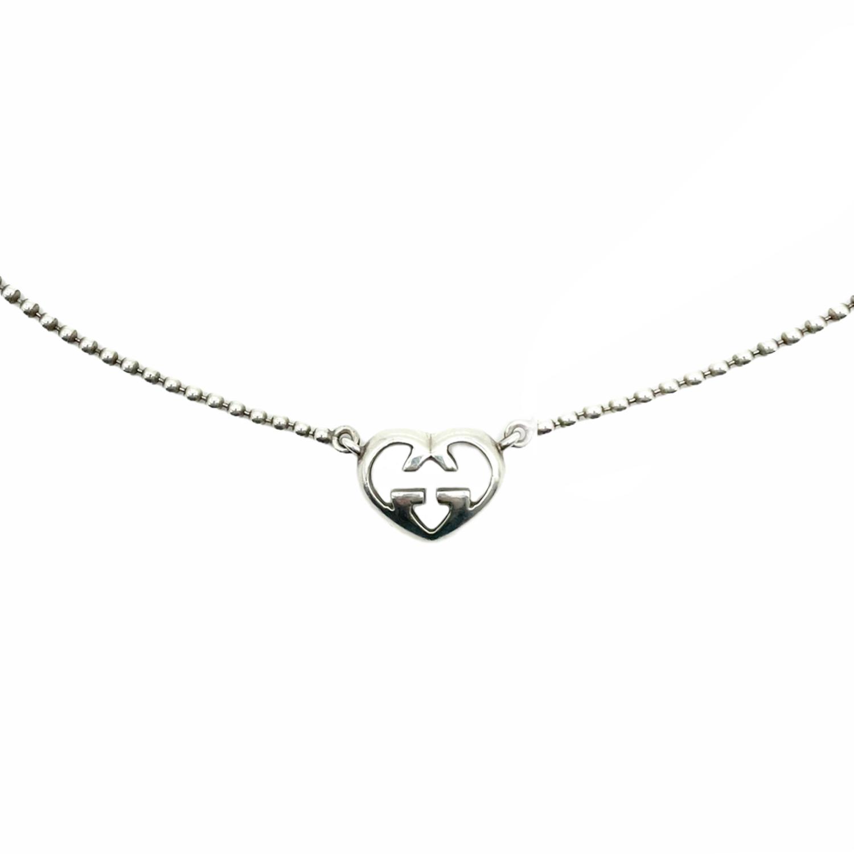 Vintage Gucci Logo Heart Pendant Necklace in Silver   NITRYL