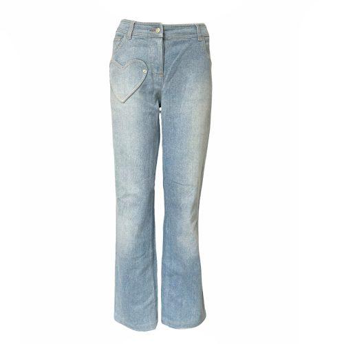Vintage Dior Heart Patchwork Pocket Straight Leg Jeans in Blue UK 10 | NITRYL