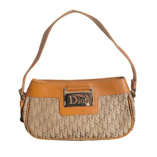 Vintage Dior Monogram Mini Shoulder Bag in Tan and Brown with Silver Logo Plaque | NITRYL