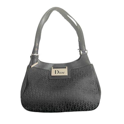 Vintage Dior Monogram Shoulder Bag in Black with Silver Plaque | NITRYL