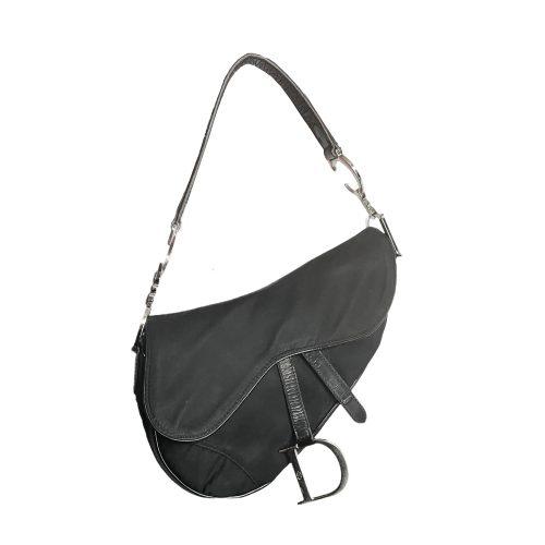 Vintage Dior Nylon Saddle Bag in Black and Silver | NITRYL