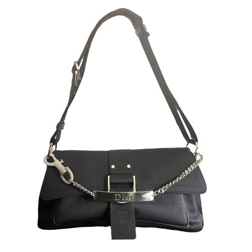 Vintage Dior Hardcore Shoulder Baguette Bag in Black with Silver Diamante Clasp | NITRYL