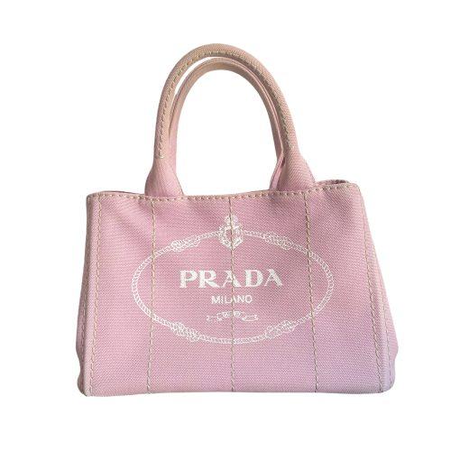 Vintage Prada Canvas Logo Bag in Baby Pink   NITRYL