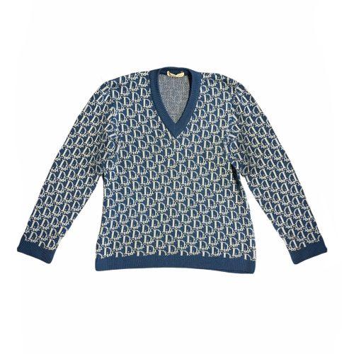 Vintage Dior Monogram Knitted Jumper in Blue Size M | NITRYL