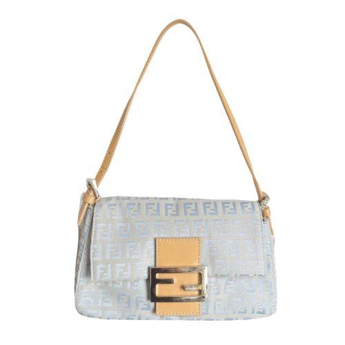 Vintage Fendi Monogram Mini Mama Baguette Bag in Baby Blue and Tan   NITRYL