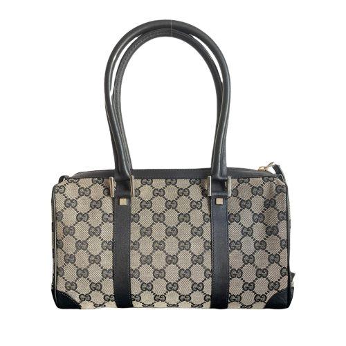 Gucci Monogram Boston Shoulder Bag in Grey/Beige and Black   NITRYL