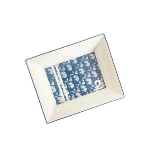 Vintage Dior Monogram Porcelain Tray Dish in Blue | NITRYL