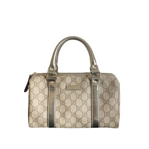 Vintage Gucci Mini Boston Bag in Beige and Metallic Bronze   NITRYL