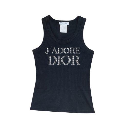 Vintage Dior 'J'Adore' Diamante Tank Vest Top in Black UK 12 | NITRYL