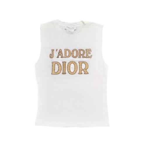 Vintage Dior 'J'Adore' Patchwork Vest Top in White UK 12 | NITRYL